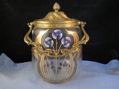 STUNNING FRENCH ART NOUVEAU GLASS ORMOLU ENAMEL BISCUIT BARREL JAR VASE PANSY