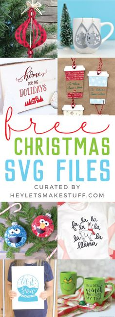 Get ready for Christmas with these festive Cricut Christmas projects! So many free SVG files to help you get in the Christmas spirit and make your holiday season merry and bright. Christmas Projects, Holiday Crafts, Christmas Ideas, Christmas Images, Christmas Balls, Silhouette Cameo, Silhouette Projects, Silhouette Cutter, Silhouette Files