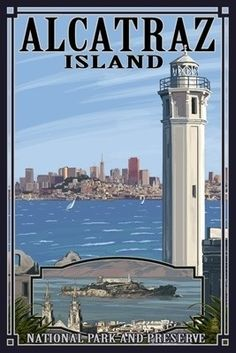 Alcatraz Island and City - San Francisco, CA - Lantern Press Poster