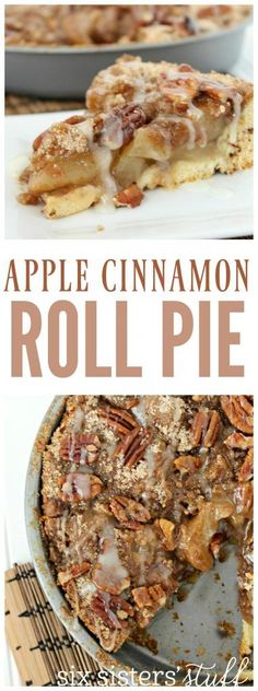 Apple Cinnamon Roll Pie from SixSistersStuff.com | Do you love pie, but don't love the pie crust? I have solved all of your problems! The bottom of this pie isn't a pie crust, it is cinnamon rolls! It truly is the best pie I have ever had!