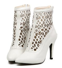 White Ornate Cut Out Design Fashion Boots