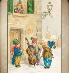 Vintage New Years Greeting with Boys Serenading Girl