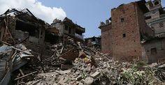 Nog een foto van hoe het er uit ziet na de aardbeving.