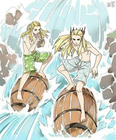 Hahahahaha, this is totally what Thranduil and Legolas do during summer vacations in Mirkwood. Barrel-surfing down the River! :D <------- They probably have contests. Chibi, Legolas And Thranduil, Bagginshield, J. R. R. Tolkien, O Hobbit, Elvish, The Elf, Middle Earth, Lord Of The Rings