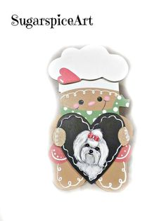 Maltese Gingerbread Christmas Standing Decoration Gift Dog Art by SugarspiceArt