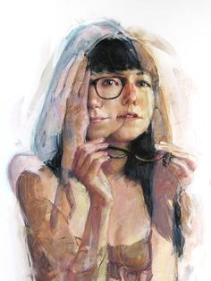 """- Jane Radstrom, pastel from """"The Girl Series"""" {contemporary artist female eyeglasses double-vision décolletage drawing woman portrait optical illusionist illustration} Portraits, Portrait Art, Illustrations, Illustration Art, A Level Art, Wow Art, Gcse Art, Art Moderne, Art Graphique"""