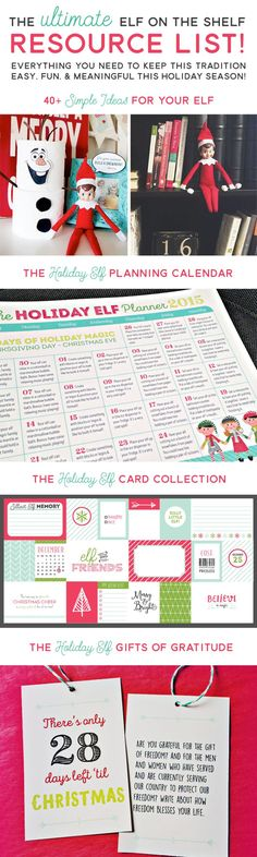 Elf on the Shelf : Everything you need to keep this tradition easy and fun! You'll find a free Elf Planning Calendar, printable Elf note cards and an idea bank of over 40 Elf antics to get you started!