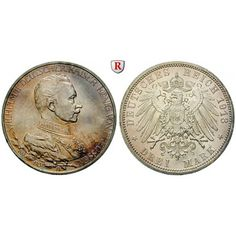 Deutsches Kaiserreich, Preussen, Wilhelm II., 3 Mark 1913, Regierungsjubiläum, A, vz/st, J. 112: Wilhelm II. 1888-1918. 3 Mark 1913… #coins