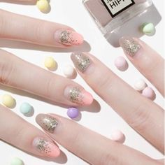 Easy Nail Art Designs-GLITTER Freshen up your #ManicureMonday with a splash of glitter. Visit redbookmag.com.