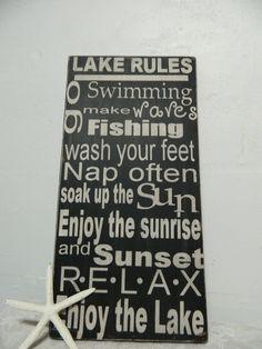 Fun At The Lake Decor | lake house rules, family rules primitive subway art sign wood wall art ...