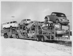 Atlantic Auto Transport (Canada) with a load of VW's on an early Teal trailer. The car on the bottom rear is a type 4 (411 or 412) so this is 1971 to 1974.