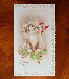 Vintage Unused Christmas Card Embossed Glitter Cat Kitten Ribbon Cats Kittens   eBay