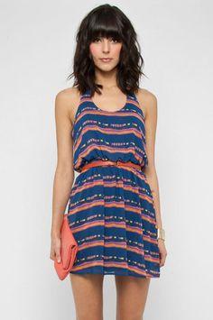 Ikat Open Tank Dress in Blue $52 at www.tobi.com
