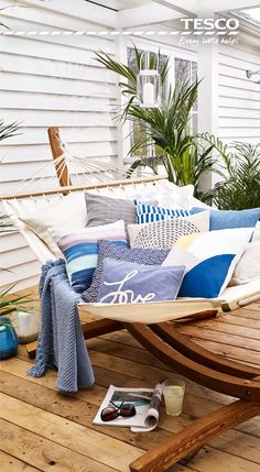 From soft touches such as a chambray 'love' cushion, £10, to a wooden garden hammock at £160 which is sure to be the envy of all the neighbours, relaxing in the great outdoors has never been so affordable or luxurious
