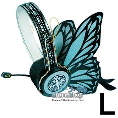 Kamui Gakupo Magnet Gray Butterfly Earphones - Real (Cosplay).... I might try to do this to my WOW headphones lol