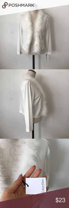 -Calvin Klein- cardigan Eggshell white shawl cardigan with feathers/fur Calvin Klein Sweaters Cardigans