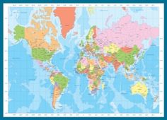 Eurographics Jigsaw Puzzles - Modern Map of the World. CITIES noted, States not sure if noted? 1000pc $18