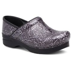 Dansko  Professional Clog ($135) ❤ liked on Polyvore featuring shoes, clogs, gray tooled, clogs footwear, gray shoes, dansko shoes, clog shoes and grey shoes