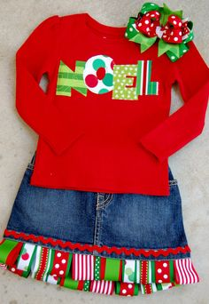 Noel shirt ribbon skirt by lotus vip Christmas Sewing, Noel Christmas, Christmas Shirts, Christmas Sweaters, Christmas Dresses, Christmas Clothes, Christmas Decor, Sewing For Kids, Baby Sewing