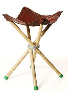 Vintage Camp Stool - my grandfather had one of these. I loved it. Wish I had kept it, but I think it actually fell apart. Leather Stool, Leather Lounge, Leather Furniture, Camping Stool, Camping Furniture, Outdoor Furniture, Leather Workshop, Camping Accessories, Take A Seat