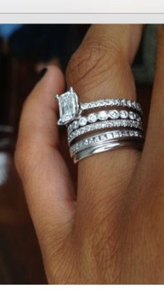 I love this! Engagement ring, wedding ring, and a band for each child.