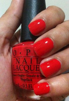 OPI Monsooner or Later. Perfect poppy red