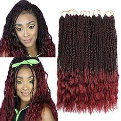Goddess Senegalese Twist Crochet Hair Curly Ends Deep Wave Synthetic Braiding Hair Kanekalon Ombre Hair Extensions Senegalese Twist Crochet Braids, Crochet Braids Marley Hair, Curly Crochet Hair Styles, Crochet Braids Hairstyles, Curly Hair Styles, Marley Twist Hairstyles, Senegalese Twist Hairstyles, Braided Hairstyles, Crochet Hair Extensions