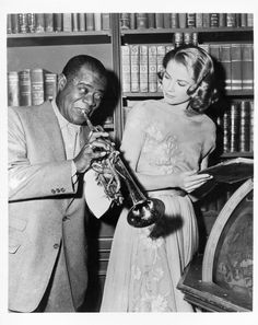 On the set of High Society with Louis Armstrong in 1956.