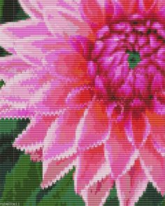 Pink Chrysanthemum Bead Loom Pattern by Karen Zumbrun