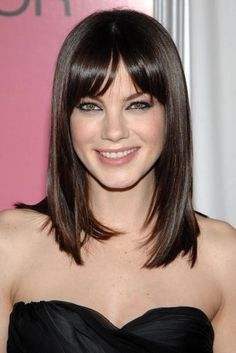 cute long & smooth, blunt cut w. slight front point, short bangs