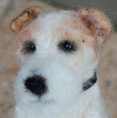 Wire Fox Terrier, Needle Felted Dog, OOAK by Elouise Bears