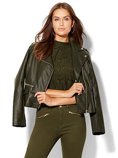 Shop Faux-Leather Moto Jacket . Find your perfect size online at the best price at New York