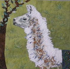 """""""My Pet Llama"""" by Sue Clayton. This quilt is featured in the Quilting Arts 2012 calendar."""