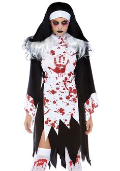 Deadly Nun Adult Costume - FOREVER HALLOWEEN Horror Halloween Costumes, Scary Halloween Costumes, Halloween 2020, Halloween Make Up, Costumes For Women, Adult Costumes, Nun Costume, Nuns Habits, Leg Avenue