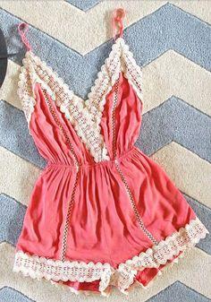 Pink Plain Condole Belt Tie Back Lace Sexy Short Jumpsuit - Shorts - Bottoms