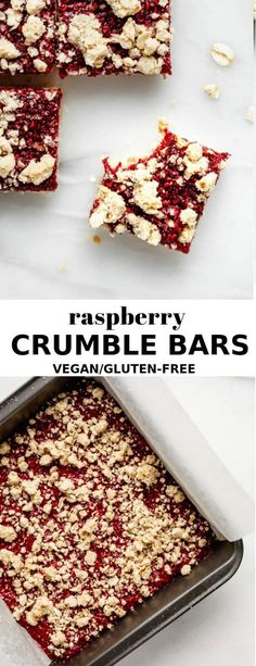These Raspberry Crumble Bars are made with good-for-you ingredients, and are a perfect healthy snack or dessert that everyone will love! Patisserie Sans Gluten, Dessert Sans Gluten, Vegan Gluten Free Desserts, Sugar Free Desserts, Vegan Sweets, Almond Recipes, Gluten Free Baking, Healthy Dessert Recipes, Vegan Baking