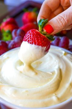 The Best Fruit Dip Ever is just three simple ingredients that result in a super creamy, perfectly sweet fruit dip. It really is the best ever! How can such an incredibly simple recipe be so fantastically good? I absolutely love this fruit dip! It's sweet, fluffy, whippy and oh so flavorful…The best part? There's only three …