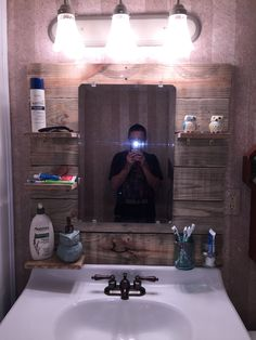 #Bathroom, #MasonJar, #Mirror, #Oak, #RecycledPallet I used two types of pallet wood for this project. 5 5.5 inch pine boards and 1 4 inch oak board. Two hose clamps and two mason jars. I used the original mirror from the old medicine cabinet. I cut the pine boards to 33inches in length. The shelves