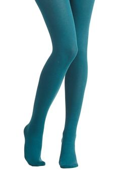 Truly Trustworthy Tights in Teal. Cozy as long johns but perfect for daily wear, these combed cotton-blend tights are bound to become your go-to pair! #blue #modcloth