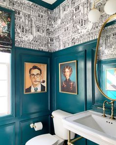 Home Interior Bathroom Dramatic Powder Bathroom Makeover.Home Interior Bathroom Dramatic Powder Bathroom Makeover Restaurant Bad, Restaurant Bathroom, Bathroom Design Inspiration, Bad Inspiration, L Wallpaper, Wallpaper In Powder Room, Eclectic Wallpaper, Bathroom Wallpaper, Modern Powder Rooms