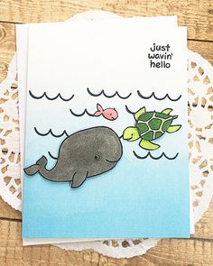 Just Wavin' Hello Note Card Whale Fish Sea Turtle by PaperDahlsLLC