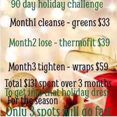 Are you looking to lose a few pounds before the holidays? Maybe tighten tone and firm an area or two?!? Message me today to get started this week on our 90 day challenge to be a New You by New Years! http://ashleon.myitworks.com
