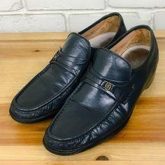 FRENCH SHRINER Men's Shoes ~ Navy Blue Leather Strap Slip On Loafers ~ US 9.5 M #FrenchShriner #LoafersSlipOns