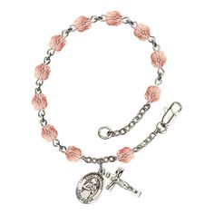 Bonyak Jewelry 18 Inch Rhodium Plated Necklace w// 6mm Light Rose Pink October Birth Month Stone Beads and Saints Peter /& Paul Charm