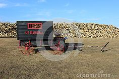 A black and red wooden wagon with red steel wheels parked in front of a pile of logs.