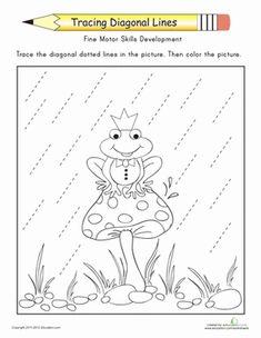 Tracing Diagonal Lines: Complete the Frog Prince Preschool Fine Motor Skills Worksheets: Tracing Diagonal Lines Preschool Fine Motor Skills, Preschool Writing, Motor Activities, Tracing Worksheets, Preschool Worksheets, Preschool Activities, Pre Writing, Writing Skills, Childhood Education