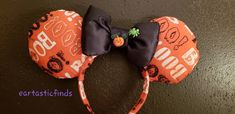 Items similar to BOO Disney inspired ears. Fabric ears with Bootiful appeal accented with mickey pumpkin button. Be ready to trick o treat at Mickeys party on Etsy Disney Halloween Ears, Disney Ears, Mickey Party, Glue Crafts, Disney Inspired, Hand Sewing, Etsy Seller, Creative, Fabric