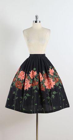 Roselawn ➳ vintage 1950s skirt * black cotton * pink & green floral print * side button & metal zipper condition | excellent fits like xs length 29