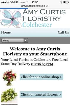 Amy Curtis Floristry in Colchester ecommerce website on your Smartphone.