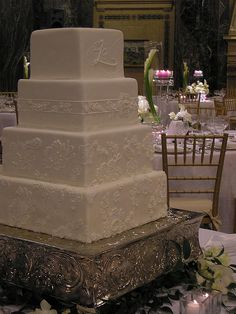 Fondant and Applique White on White Square Monogram Wedding Cake